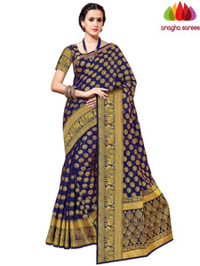 Designer Tussar Semi Silk Saree - Navy Blue ANA_A59
