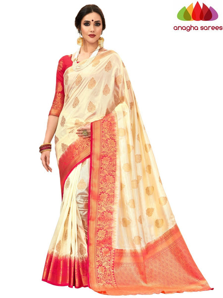 Anagha Sarees Tussar silk Length=6.2 metres Width=45 inches / Cream Designer Tussar Semi Silk Saree - Cream : ANA_H16