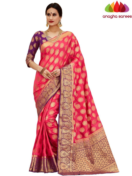 Anagha Sarees Tussar silk Length=6.2 metres Width=45 inches / Dark Peach Designer Tussar Semi Silk Saree - Dark Peach : ANA_H24