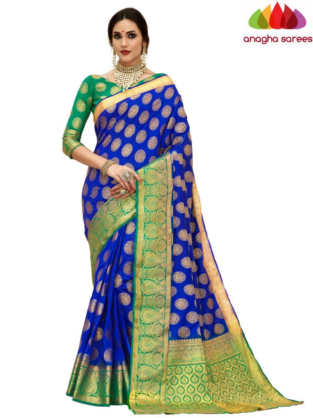 Anagha Sarees Tussar silk Length=6.2 metres Width=45 inches / Ink Blue Designer Tussar Semi Silk Saree - Ink Blue : ANA_H12