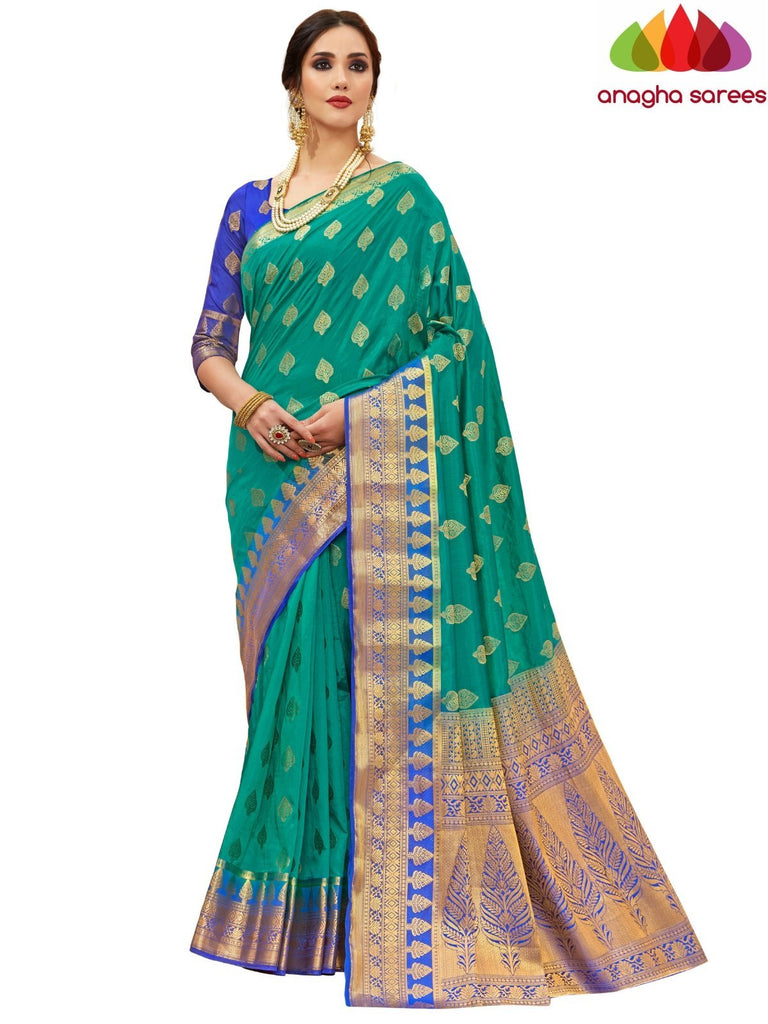 Anagha Sarees Tussar silk Length=6.2 metres Width=45 inches / Light Green Designer Tussar Semi Silk Saree - Light Green : ANA_H13