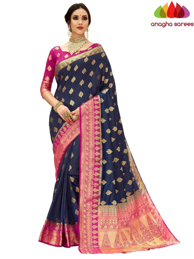 Anagha Sarees Tussar silk Length=6.2 metres Width=45 inches / Navy Blue Designer Tussar Semi Silk Saree - Navy Blue : ANA_H14