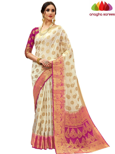 Anagha Sarees Tussar silk Length=6.2 metres Width=45 inches / Off-White Designer Tussar Semi Silk Saree - Off White : ANA_H17