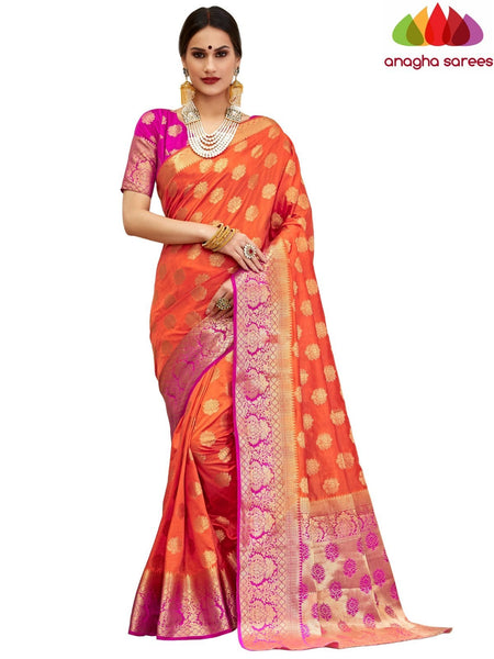 Anagha Sarees Tussar silk Length=6.2 metres Width=45 inches / Orange Designer Tussar Semi Silk Saree - Orange : ANA_H22