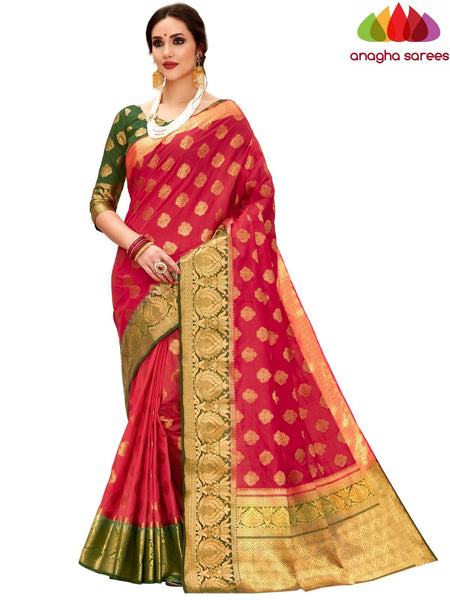 Anagha Sarees Tussar silk Length=6.2 metres Width=45 inches / Red Designer Tussar Semi Silk Saree - Red : ANA_H18
