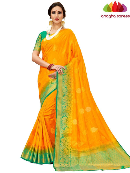 Anagha Sarees Tussar silk Length=6.2 metres Width=45 inches / Yellow Designer Tussar Semi Silk Saree - Yellow : ANA_H23