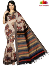 Bagru Print Tusser Silk Saree - Light Chocolate ANA_C58 - Anagha Sarees
