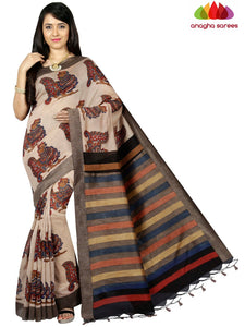 Bagru Print Tusser Silk Saree - Light Chocolate ANA_C58