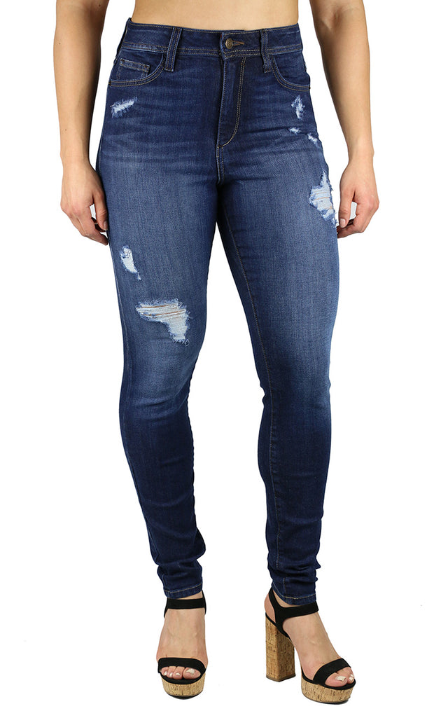 April Super High Rise Skinny Dark Destruction Wash
