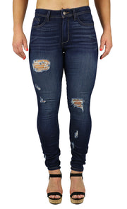 Nicole High Rise Skinny Dark Destruction Wash