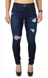 NICOLE HIGH RISE SKINNY DESTRUCTION DARK (FD1042)