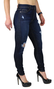 NICOLE HIGH RISE SKINNY DESTRUCTION DARK