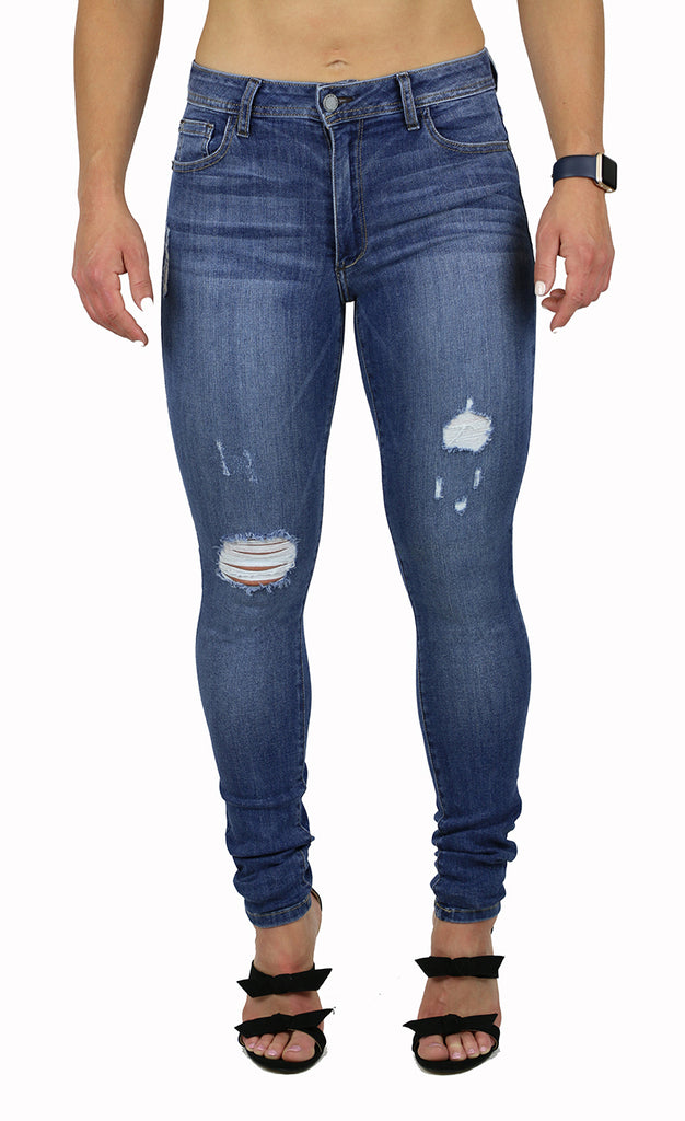 NICOLE HIGH RISE SKINNY DESTRUCTION WASH (FD1042)