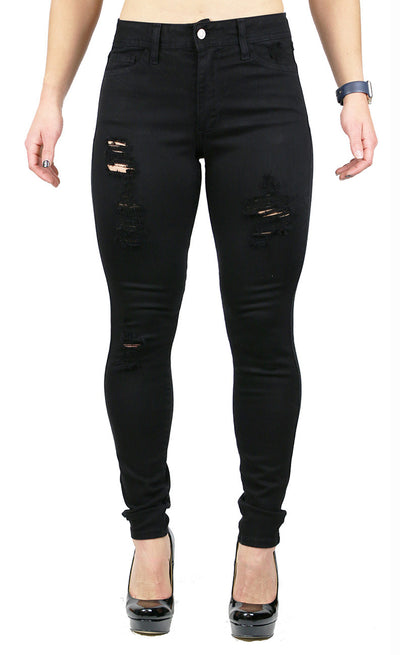 JULIE HIGH RISE DESTRUCTION SKINNY BLACK