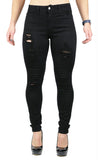 JULIE HIGH RISE DESTRUCTION SKINNY BLACK (FD1047)