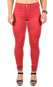 JULIE HIGH RISE SKINNY BURNT RED
