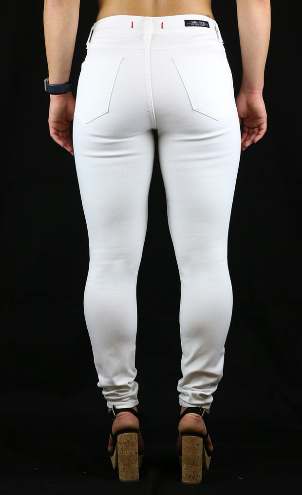 Julie High Rise Skinny White Destruction Wash