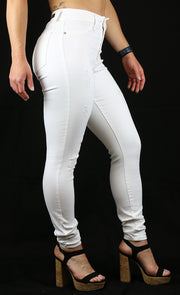 JULIE HIGH RISE SKINNY WHITE DESTRUCTION