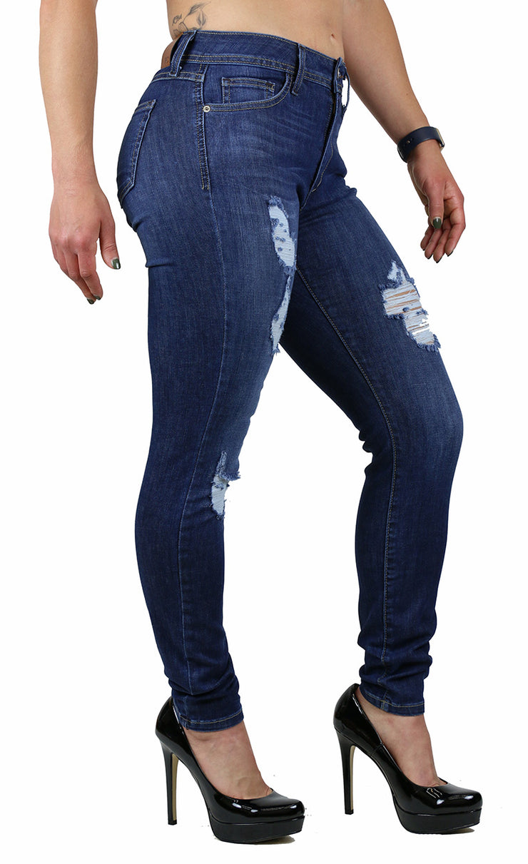 NICOLE HIGH RISE SKINNY MEDIUM STONE WASH DESTRUCTION (FD1076)