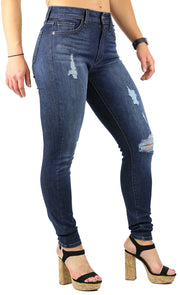 NICOLE HIGH RISE SKINNY DARK STONE WASH DESTRUCTION
