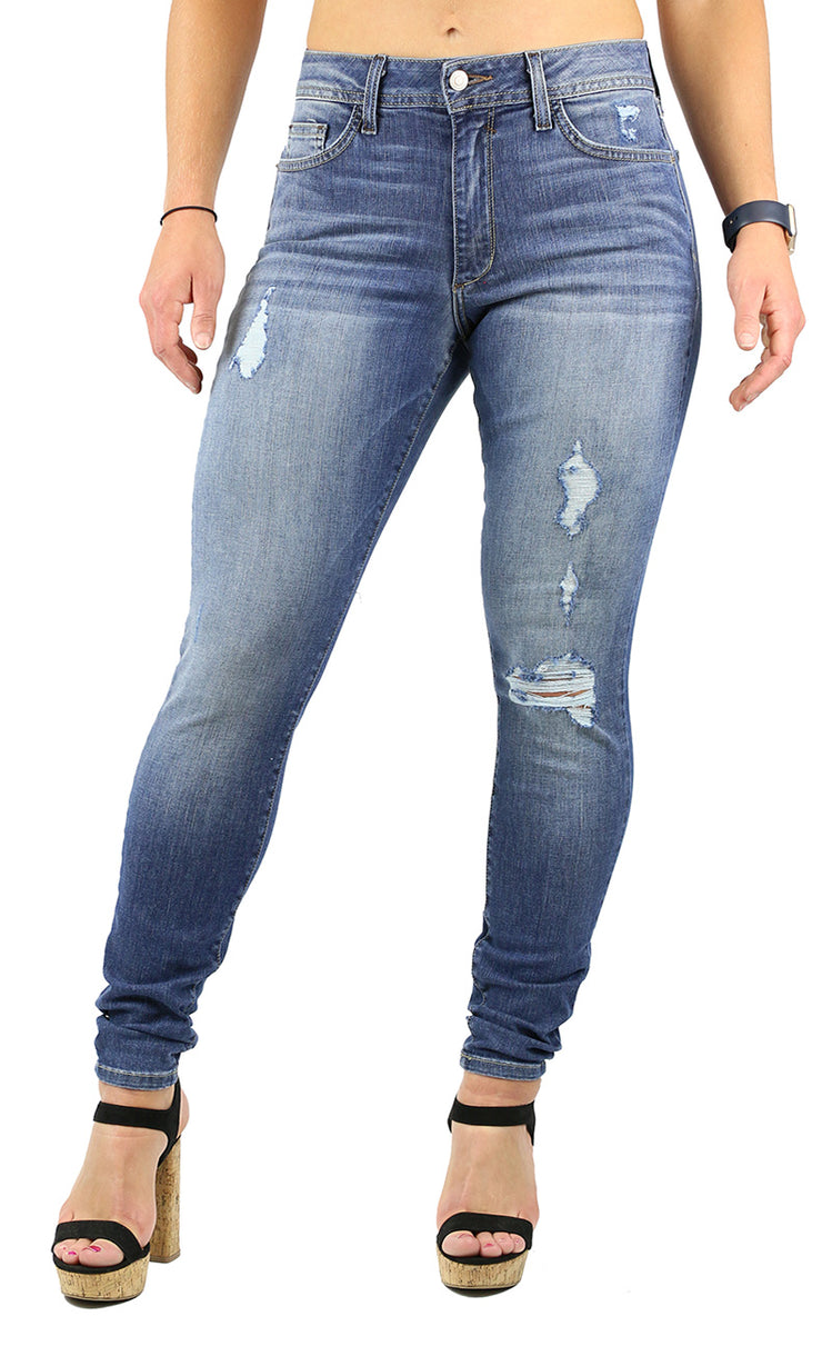 NICOLE HIGH RISE SKINNY MEDIUM STONE WASH DESTRUCTION NEW