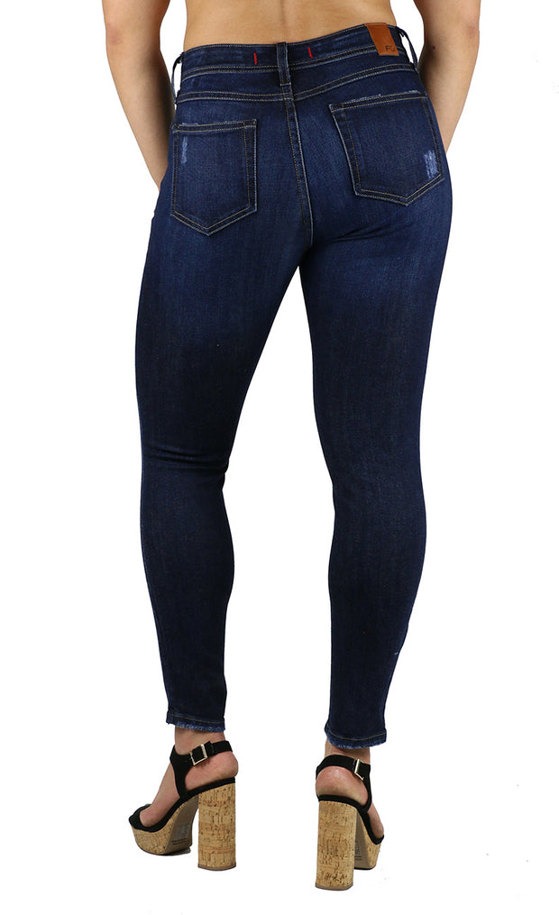 Mika High Rise Petite Skinny Dark Destruction Wash