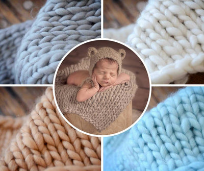 Knitted Thick Yarn Blanket - Beige-Newborn Photography Props
