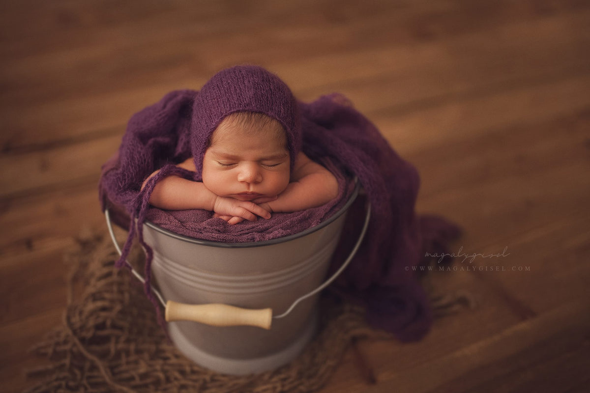 SET Mohair Knit Baby Wrap and Bonnet - Violet-Newborn Photography Props