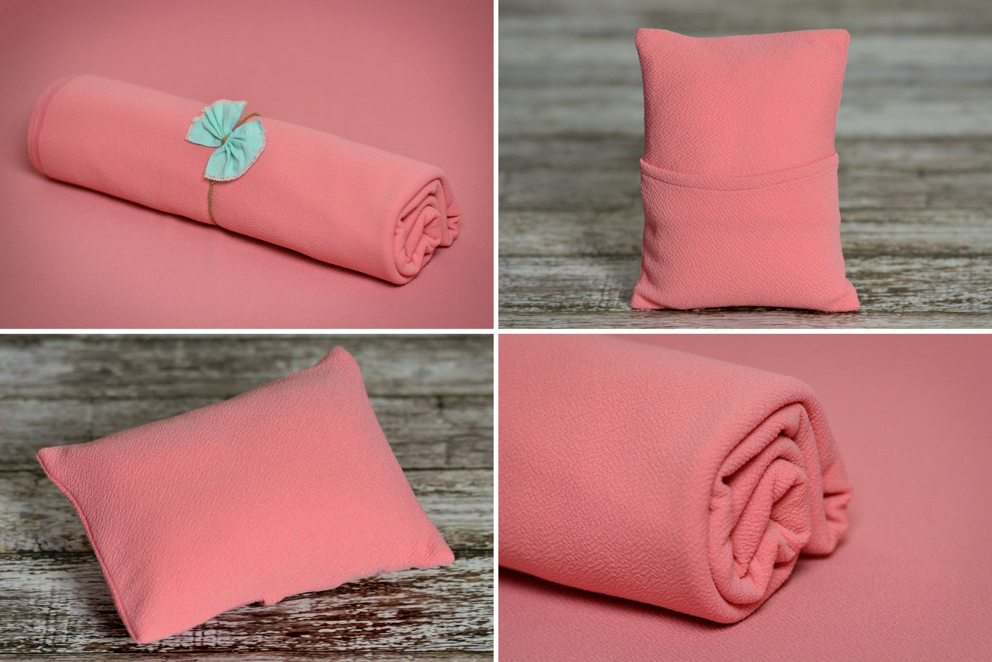 Matching Mini Pillow with Cover AND Bean Bag Fabric - Textured - Rose-Newborn Photography Props