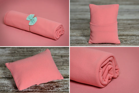 Matching Mini Pillow with Cover AND Bean Bag Fabric - Textured - New Peach