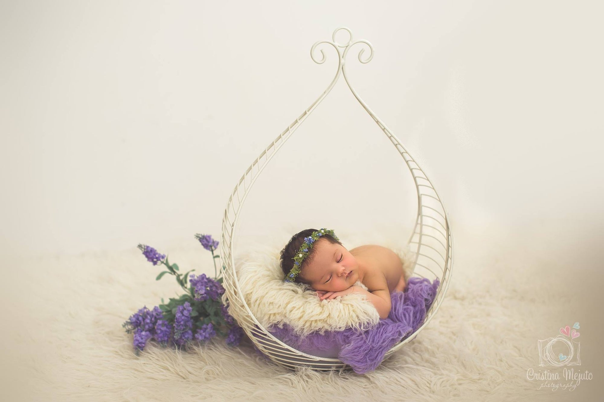 Vintage Bed - Hanging Drop - White-Newborn Photography Props