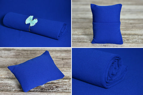 Matching Mini Pillow with Cover AND Bean Bag Fabric - Textured - New Navy