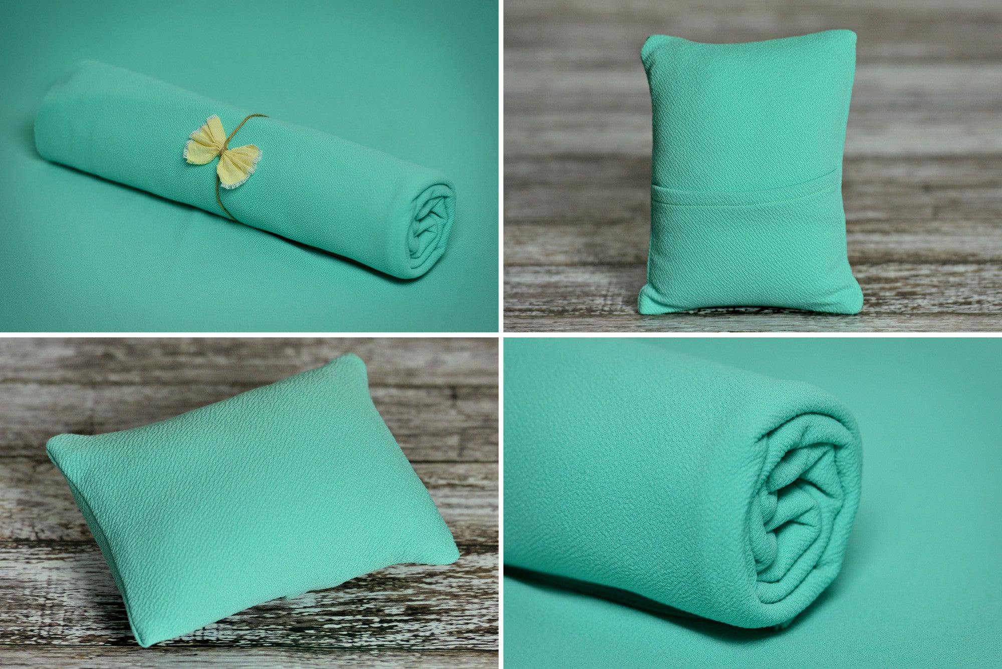 Matching Mini Pillow with Cover AND Bean Bag Fabric - Textured - Mint-Newborn Photography Props