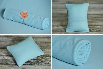 Matching Mini Pillow with Cover AND Bean Bag Fabric - Textured - Light Blue-Newborn Photography Props