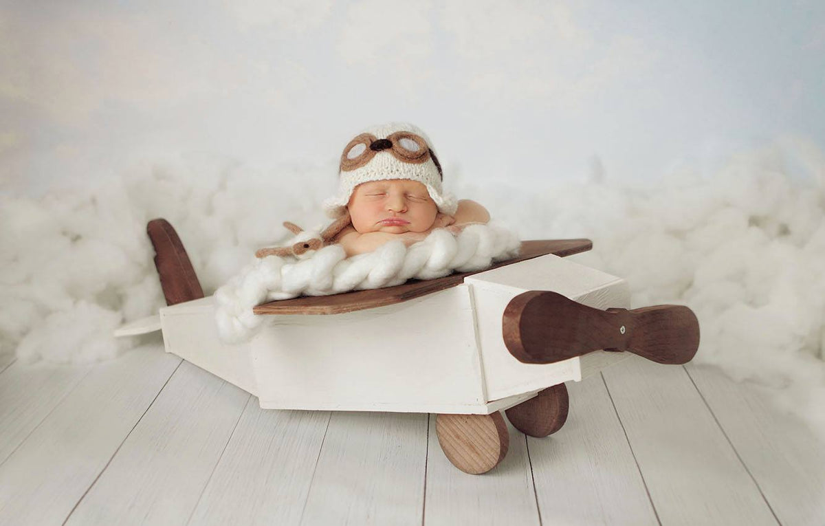 Rustic Airplane - White-Newborn Photography Props
