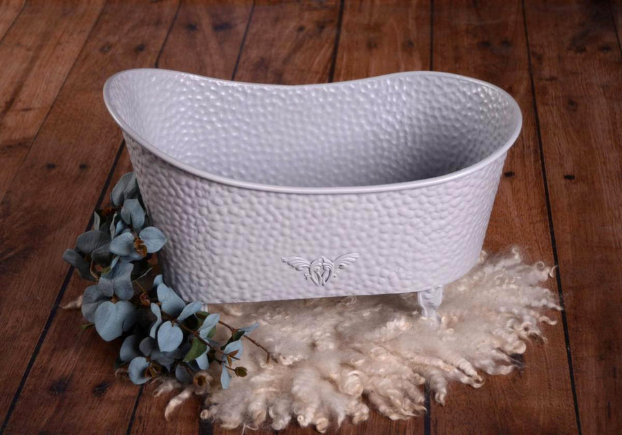 Footed Vintage Bathtub - Bumpy Textured - Gray-Newborn Photography Props