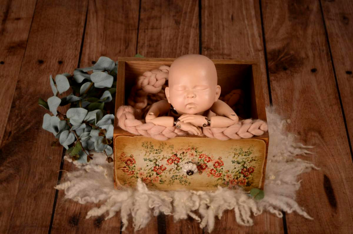 Rustic Drawer - Floral Print Model 1-Newborn Photography Props