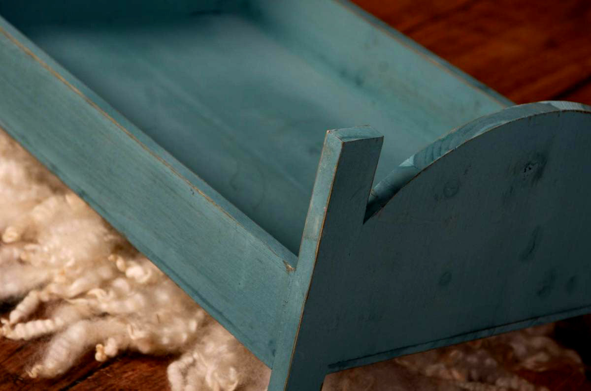 Rustic Bed - Curved Headboard - Greenish Blue-Newborn Photography Props
