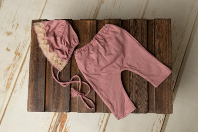 SET Basic Girl with Bonnet - Mauve