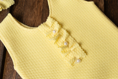 SET Bodysuit and Headband - Textured - Baby Yellow