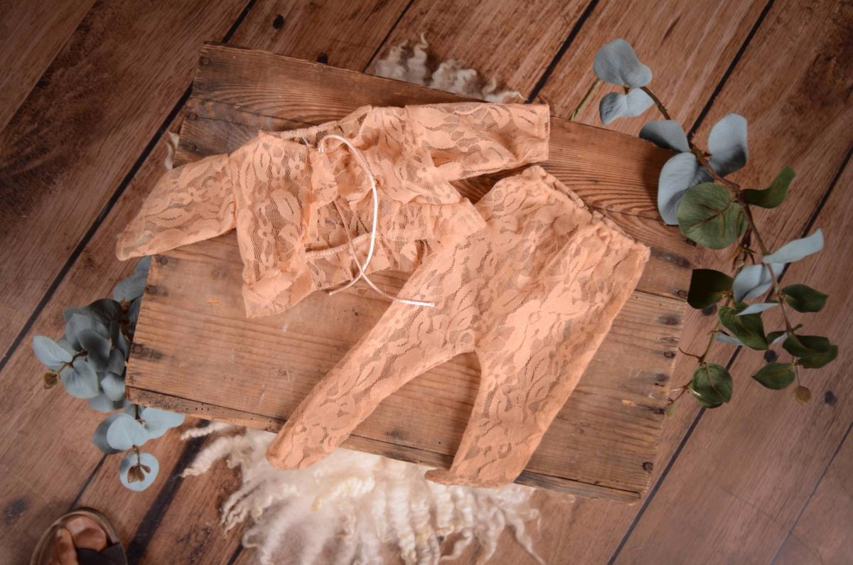 SET Leggings and Blouse - Beige Lace-Newborn Photography Props