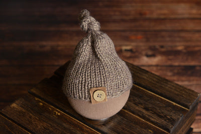 Crochet Hat with Knot and Button - Mink-Newborn Photography Props