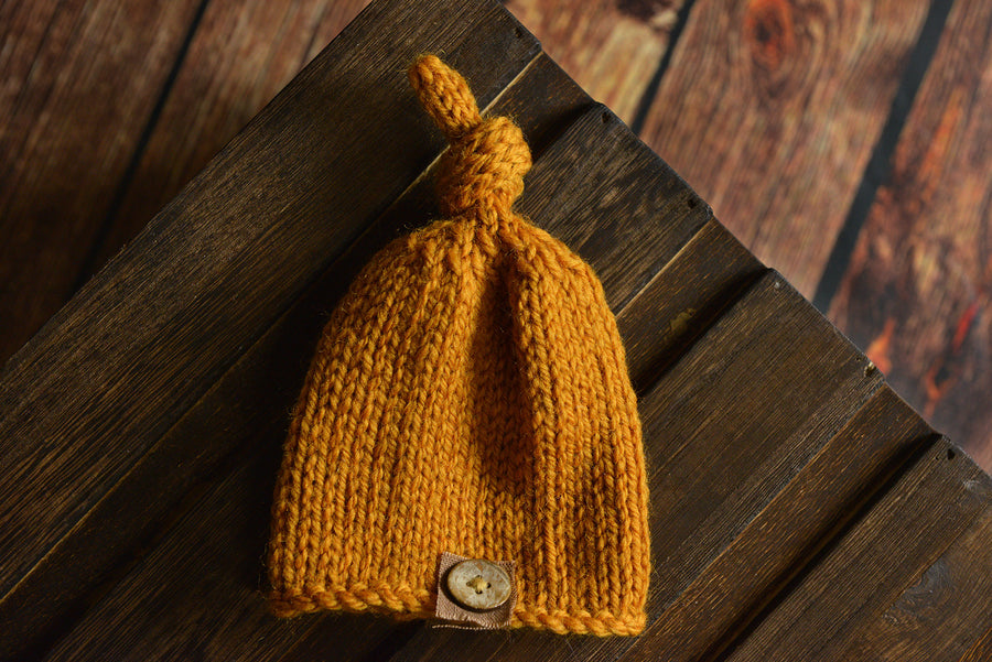 Crochet Hat with Knot and Button - Mustard