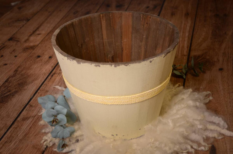 Rustic Bucket - 12in - Cream