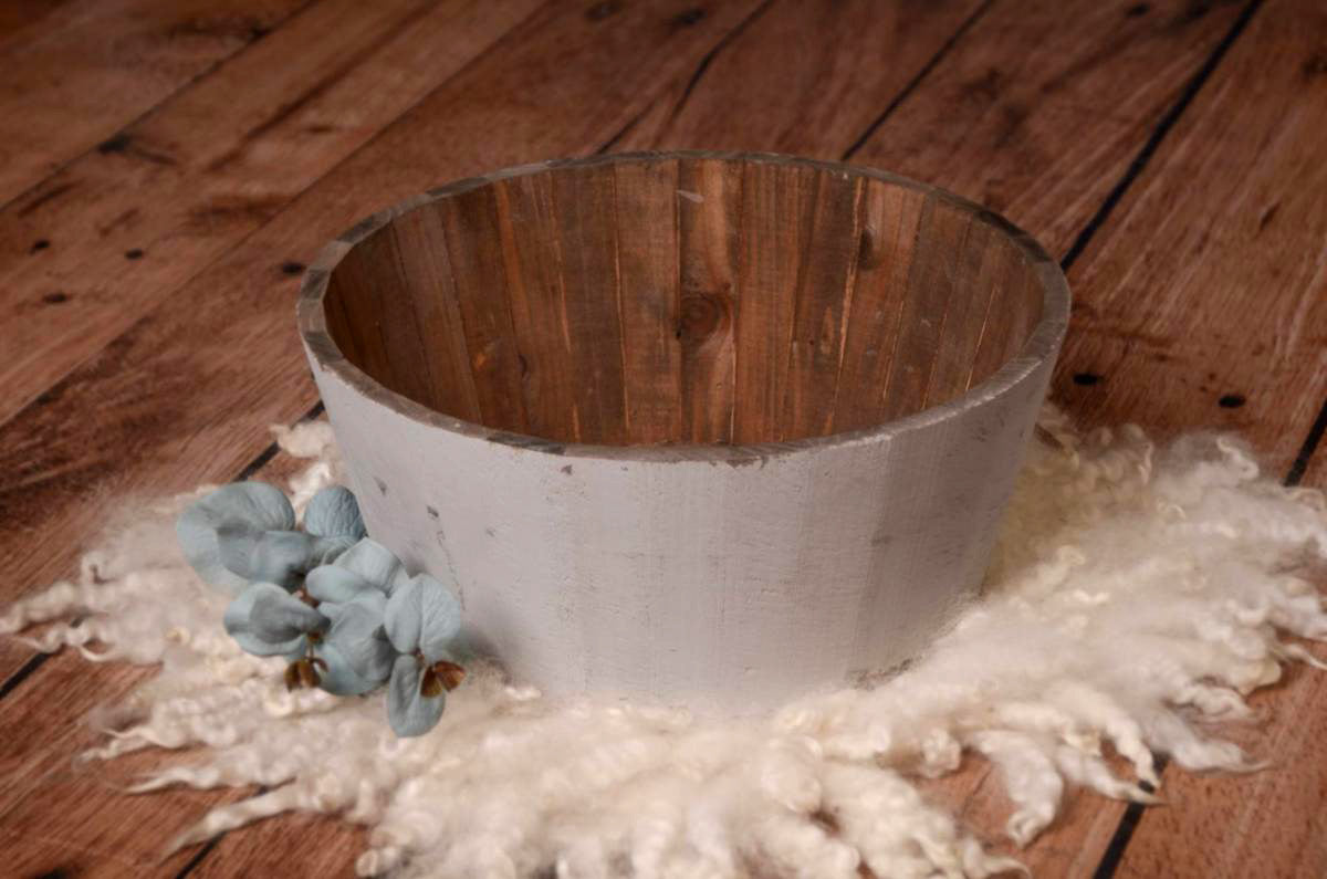 Rustic Bucket - 14in - Light Gray-Newborn Photography Props