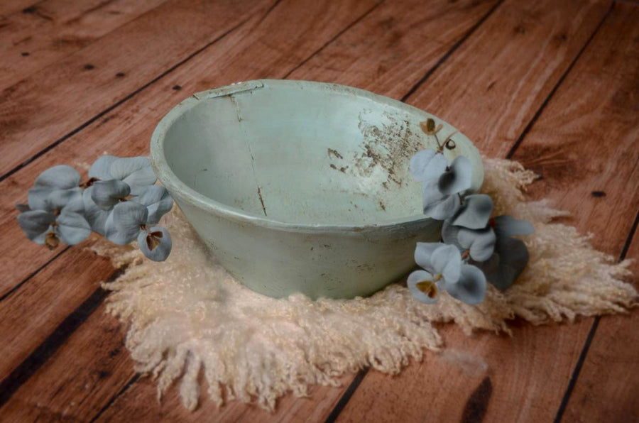 Vintage Bowl - Greenish Blue-Newborn Photography Props