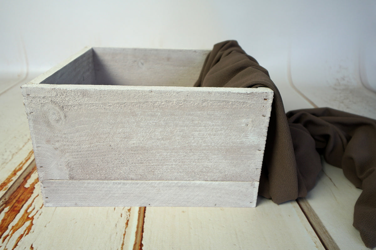 Rustic Box - Square - White-Newborn Photography Props