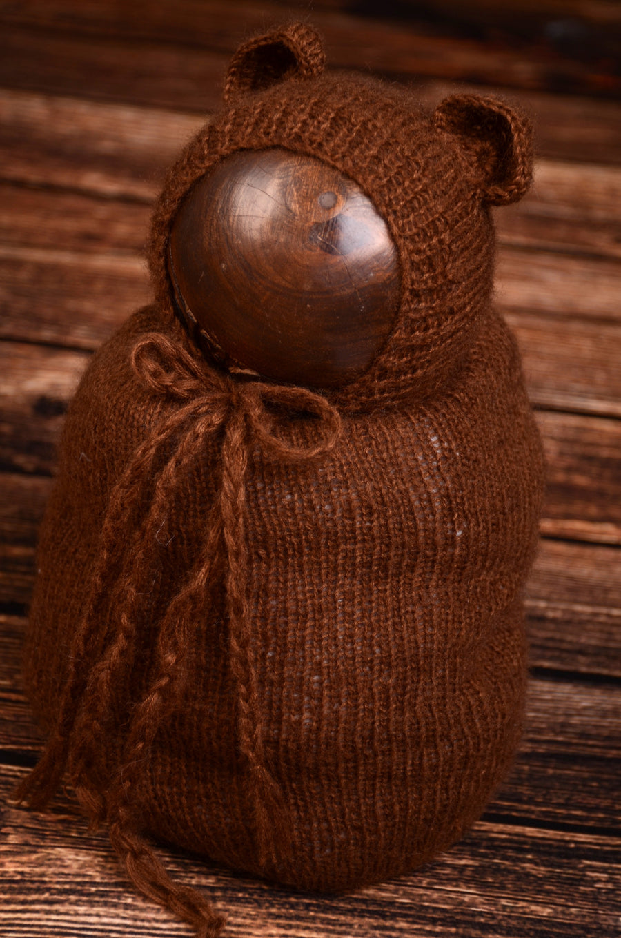 SET Mohair Bear Bonnet and Sack - Brown