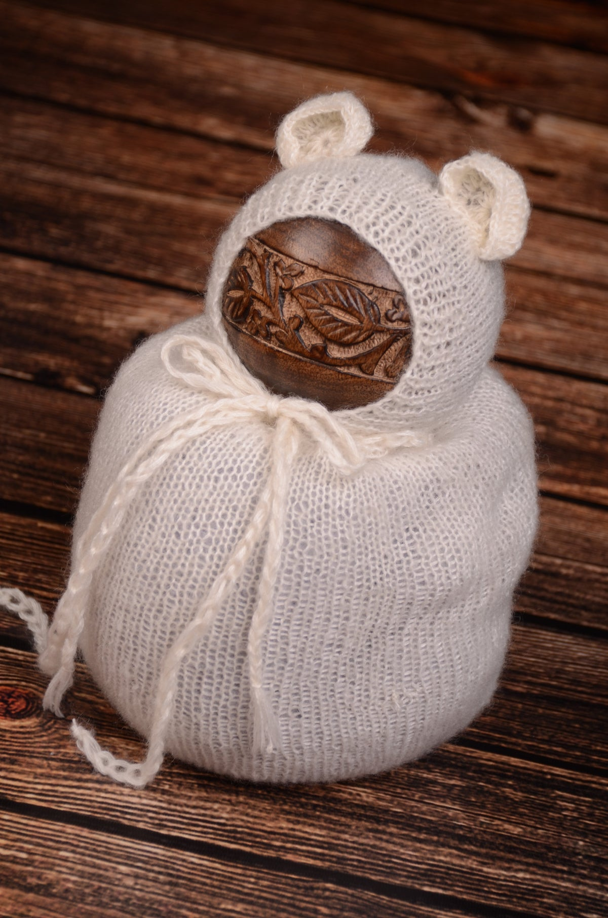 SET Mohair Bear Bonnet and Sack - White-Newborn Photography Props