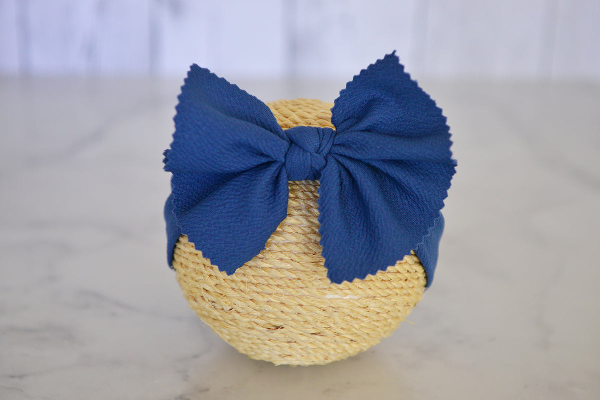 Bow Headband - Textured - Denim